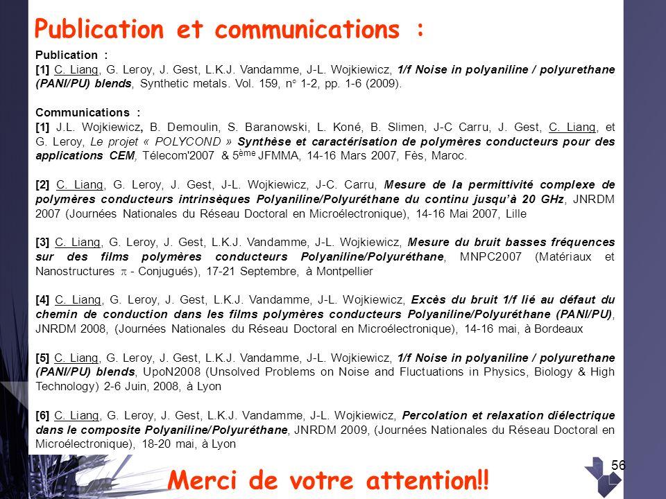 Publication et communications :