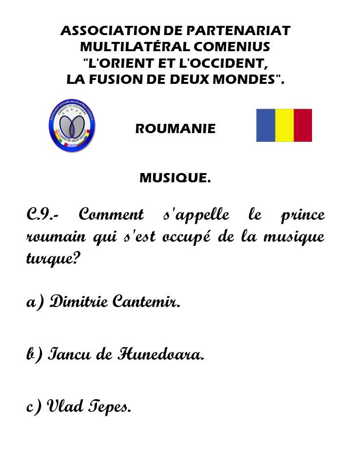 ASSOCIATION DE PARTENARIAT MULTILATÉRAL COMENIUS