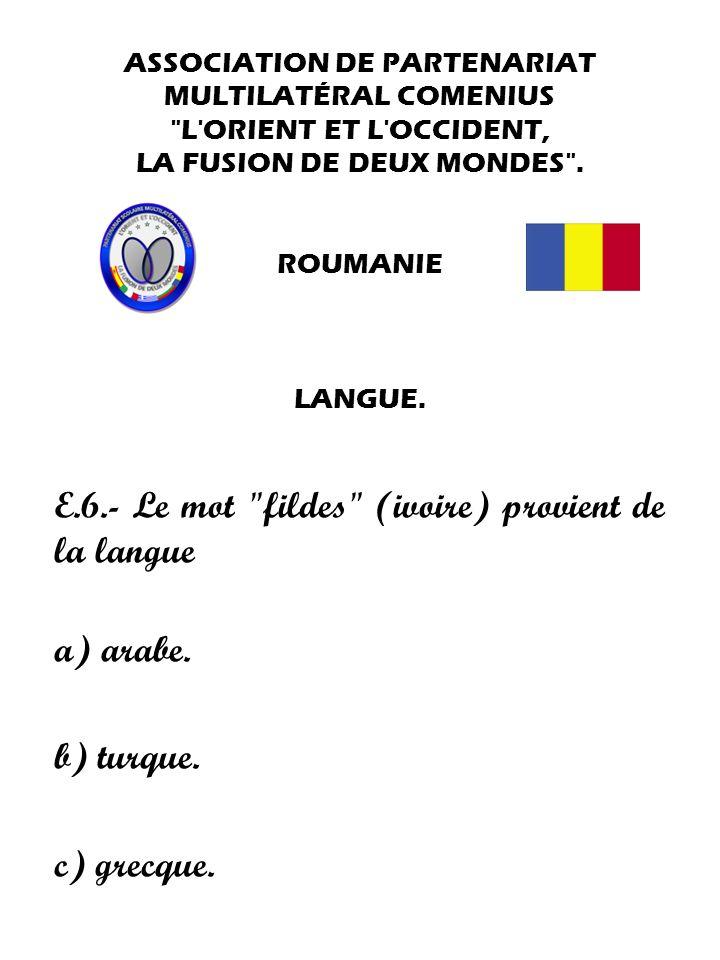 E.6.- Le mot fildes (ivoire) provient de la langue