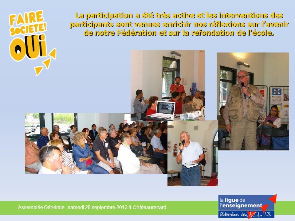 La participation a été très active et les interventions des participants sont venues enrichir nos réflexions sur l'avenir de notre Fédération et sur la refondation de l'école.