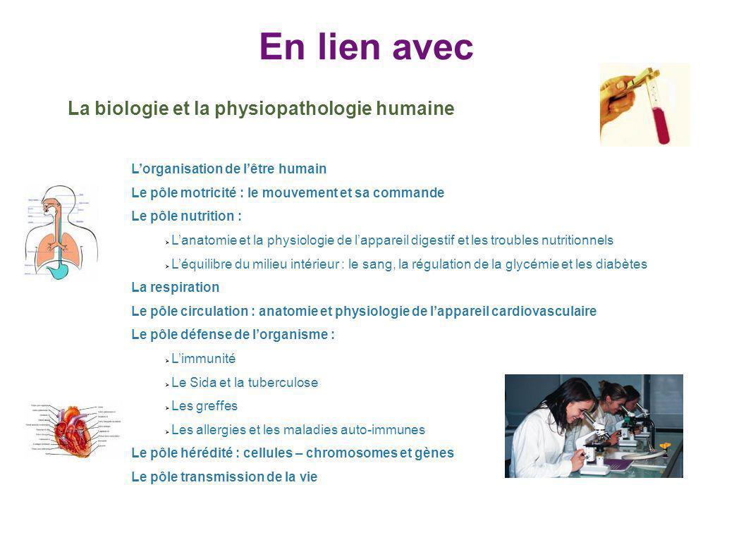 En lien avec La biologie et la physiopathologie humaine