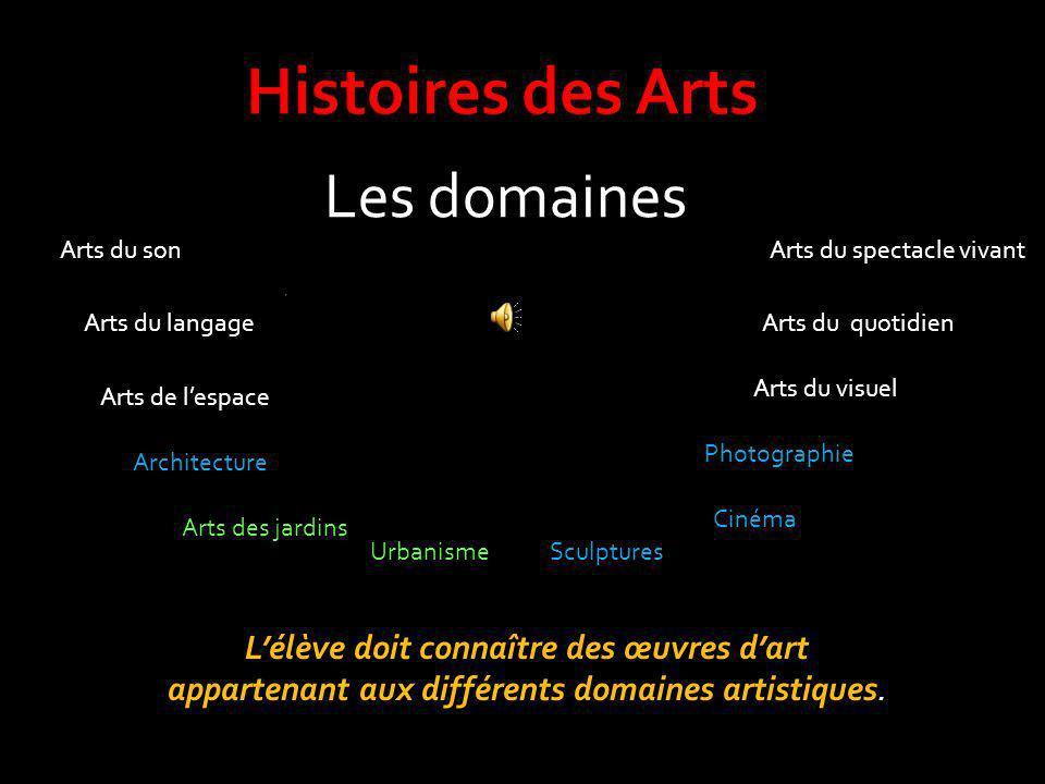 Histoires des Arts Les domaines