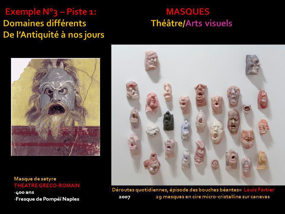 Exemple N°3 – Piste 1: MASQUES Domaines différents Théâtre/Arts visuels De l'Antiquité à nos jours
