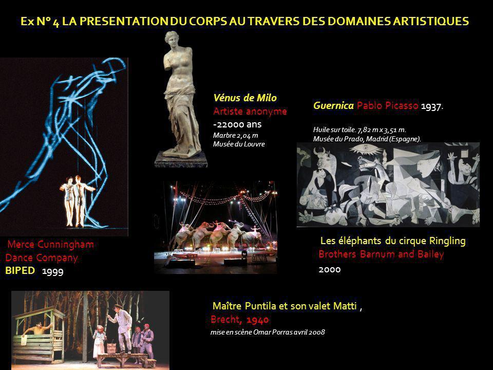 Ex N° 4 LA PRESENTATION DU CORPS AU TRAVERS DES DOMAINES ARTISTIQUES