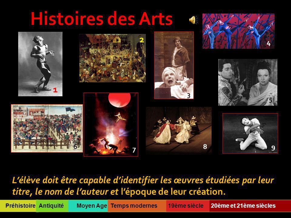 Histoires des Arts 2. 4. 1. 3. 5. 6. 8. 9. 7.