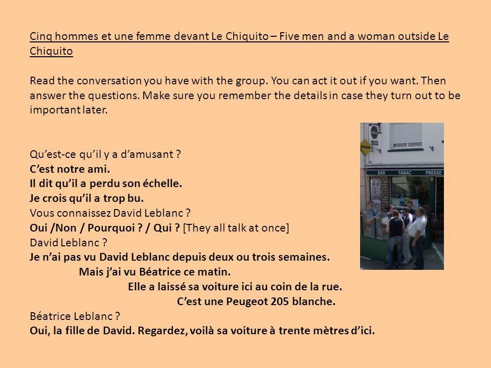 Cinq hommes et une femme devant Le Chiquito – Five men and a woman outside Le Chiquito