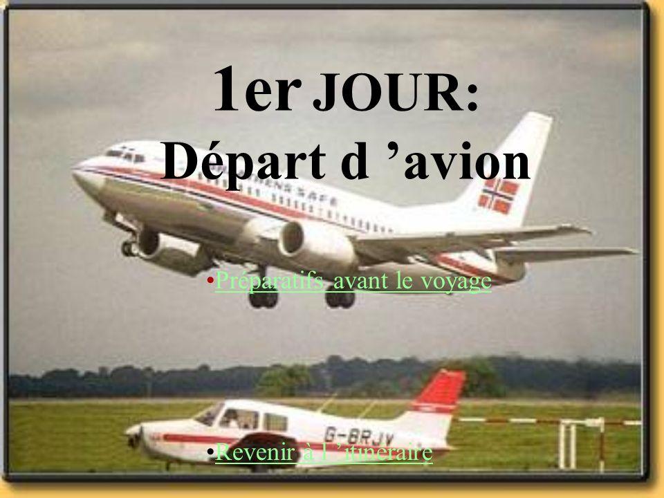 1er JOUR: Départ d 'avion