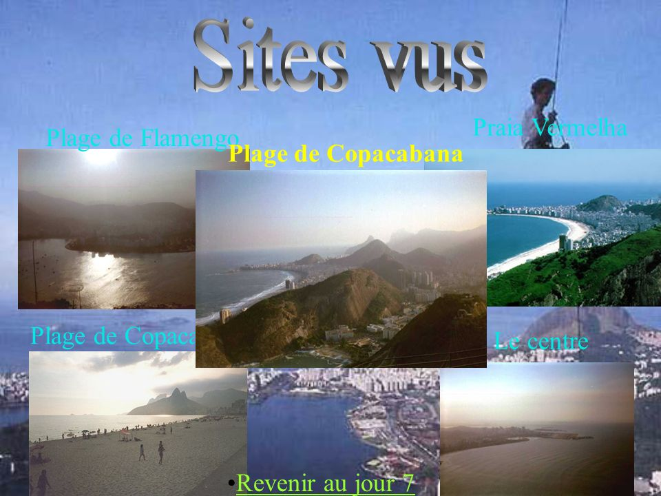 Sites vus Praia Vermelha Plage de Flamengo Plage de Copacabana