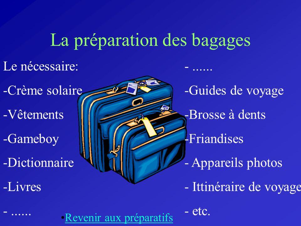 La préparation des bagages