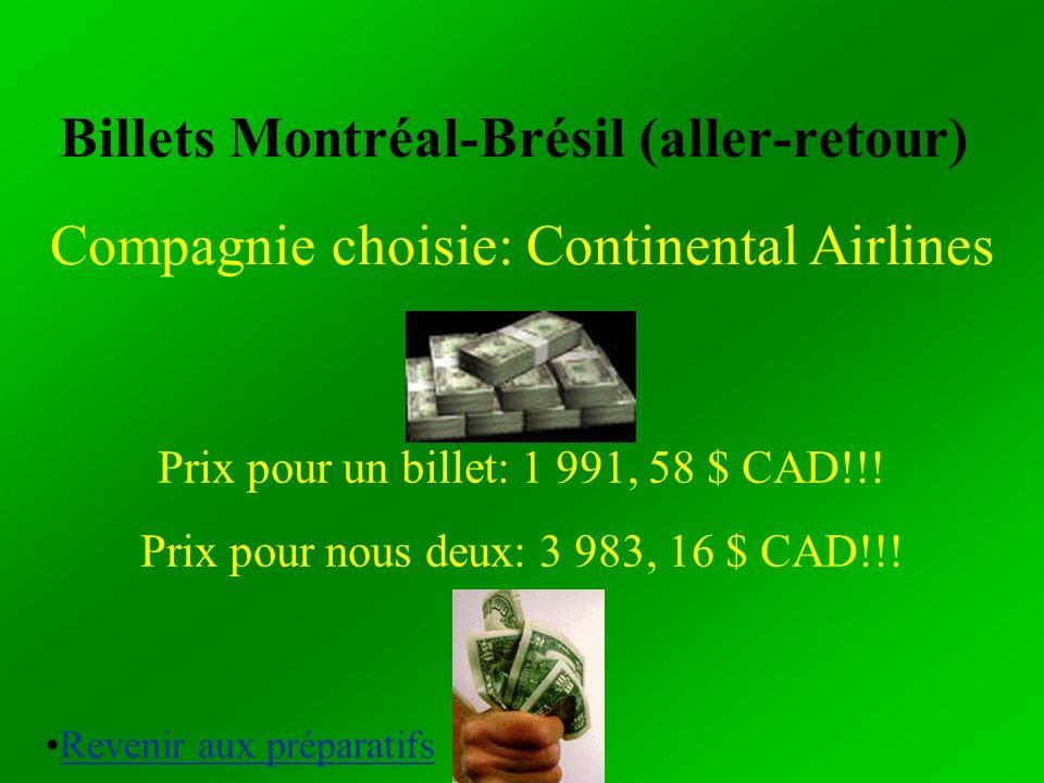 Billets Montréal-Brésil (aller-retour)