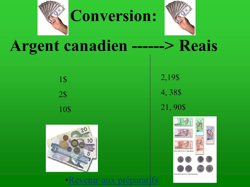 Argent canadien ------> Reais