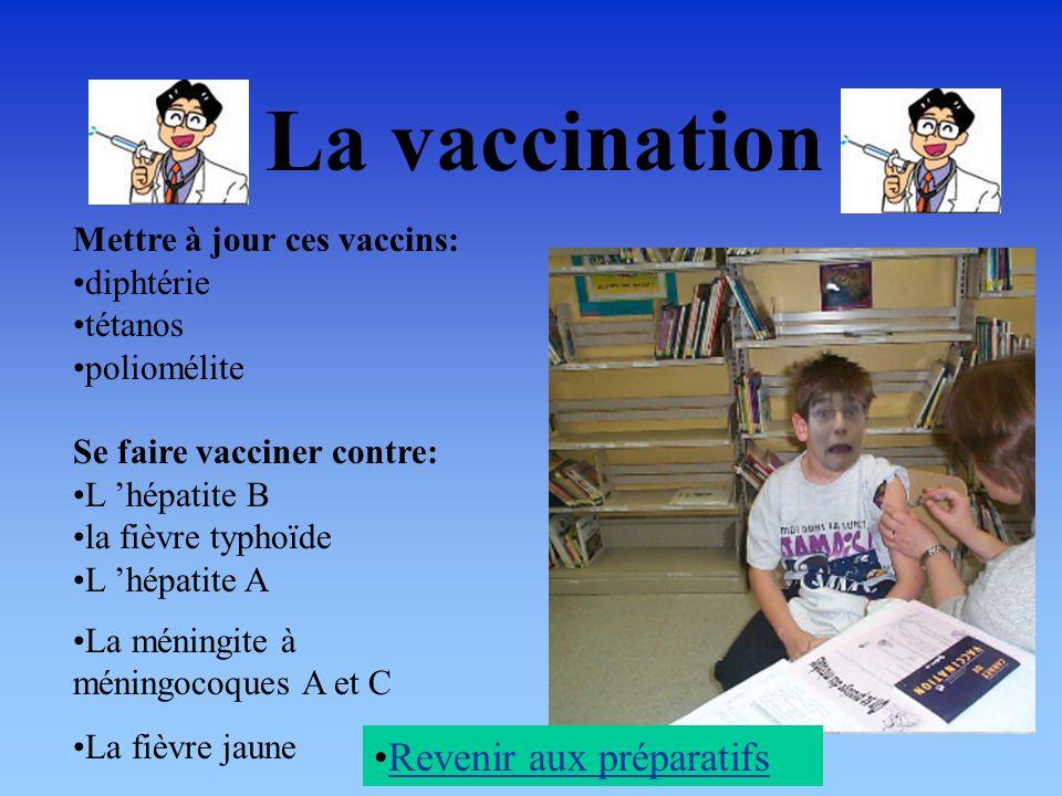 La vaccination Revenir aux préparatifs Mettre à jour ces vaccins: