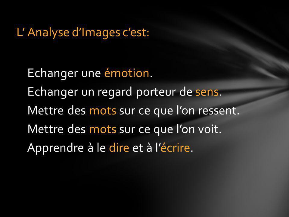 L' Analyse d'Images c'est: