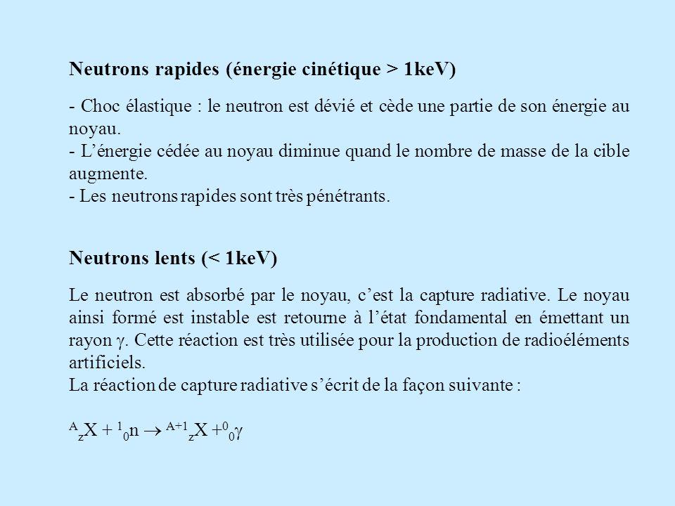 Neutrons rapides (énergie cinétique > 1keV)