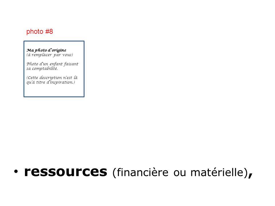 ressources (financière ou matérielle),