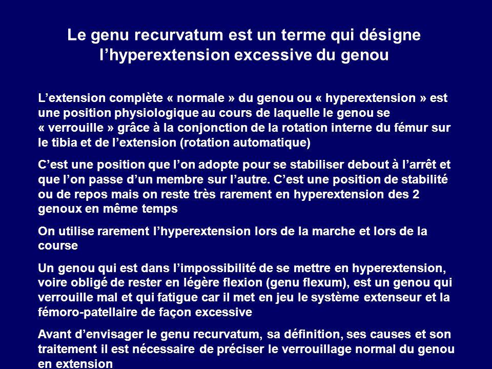Le genu recurvatum est un terme qui désigne l'hyperextension excessive du genou