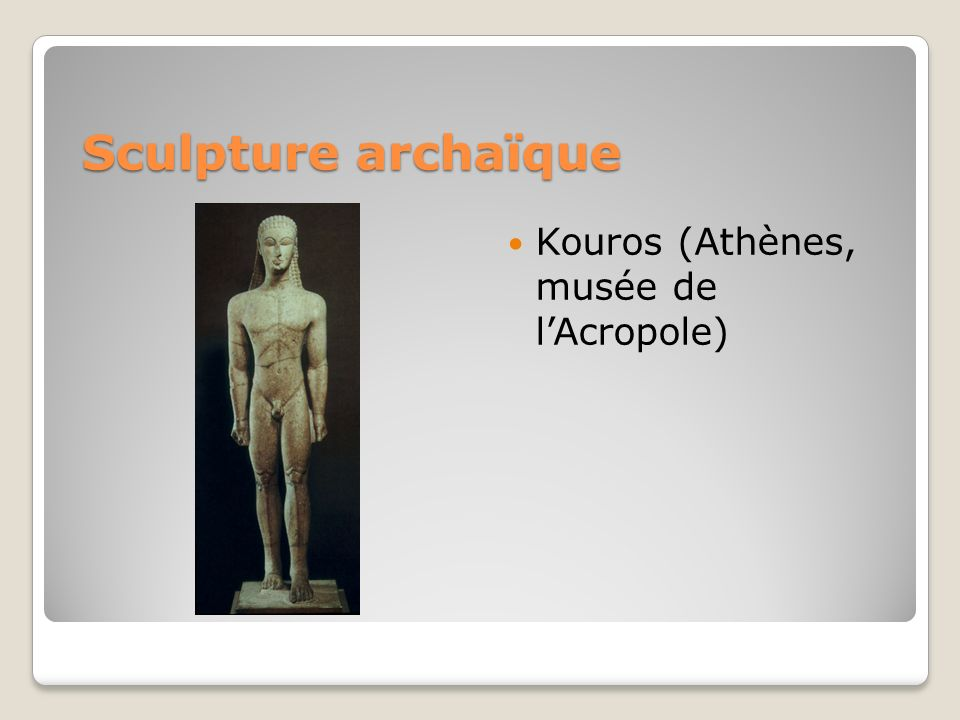 Sculpture archaïque Kouros (Athènes, musée de l'Acropole)