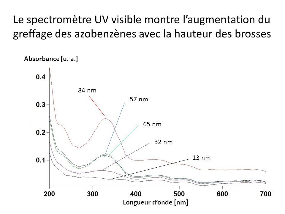 Le spectromètre UV visible montre l'augmentation du greffage des azobenzènes avec la hauteur des brosses