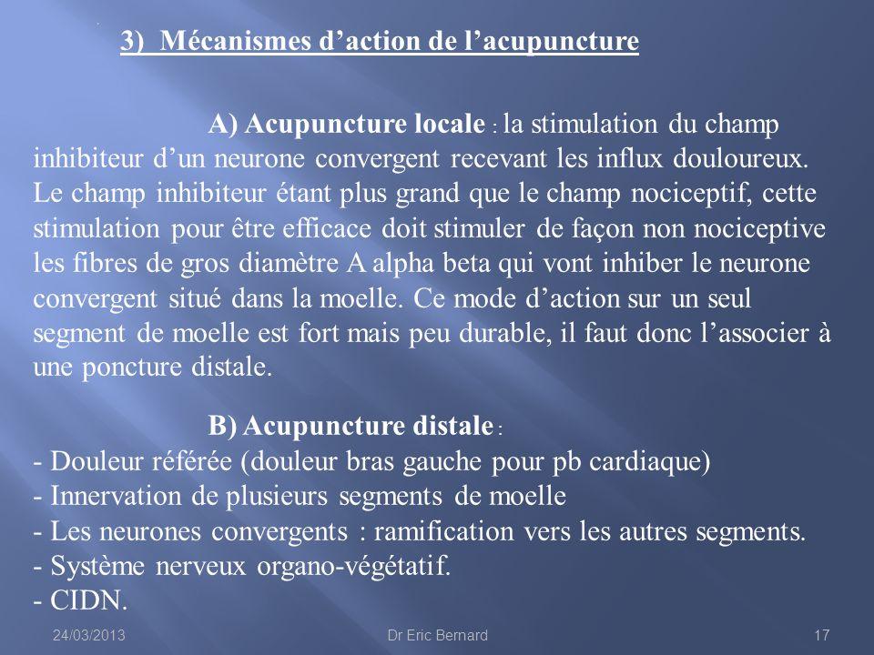 3) Mécanismes d'action de l'acupuncture