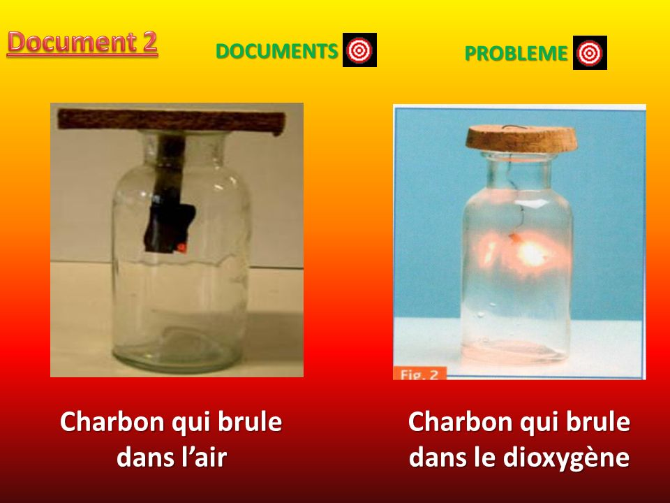 Charbon qui brule dans l'air Charbon qui brule dans le dioxygène