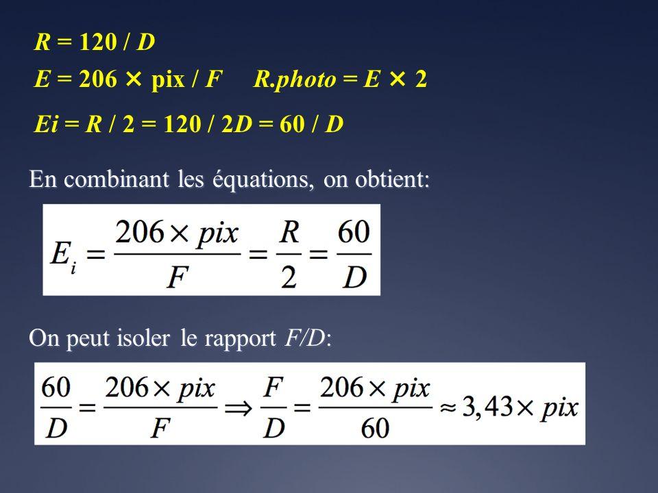 R = 120 / D E = 206 × pix / F. R.photo = E × 2. Ei = R / 2 = 120 / 2D = 60 / D. En combinant les équations, on obtient: