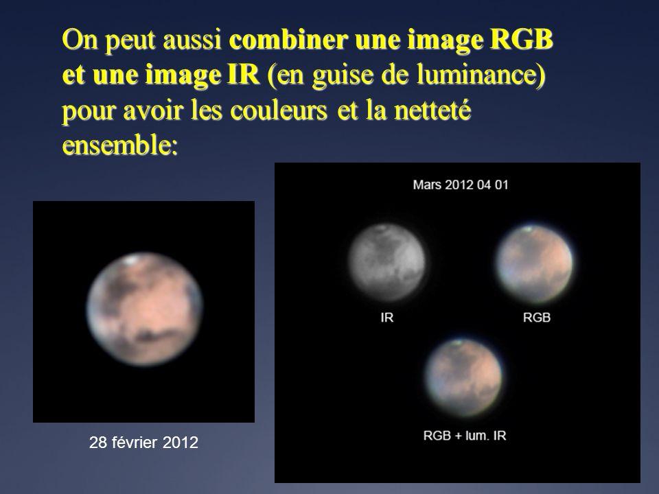 On peut aussi combiner une image RGB et une image IR (en guise de luminance) pour avoir les couleurs et la netteté ensemble: