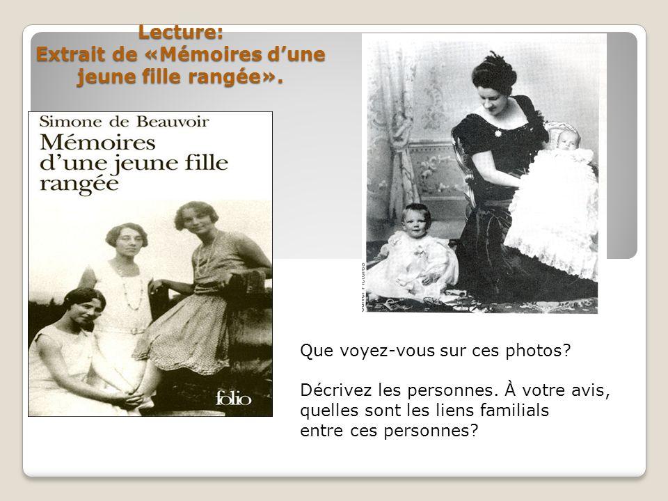 Lecture: Extrait de «Mémoires d'une jeune fille rangée».