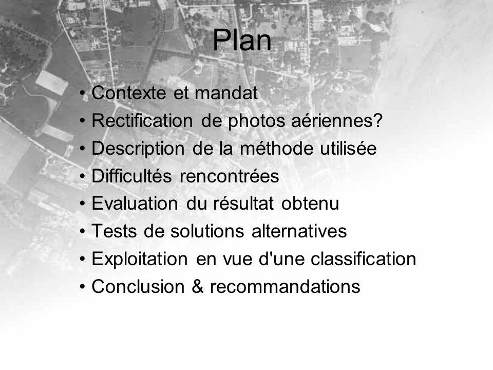 Plan Contexte et mandat Rectification de photos aériennes