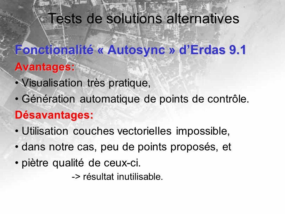 Tests de solutions alternatives