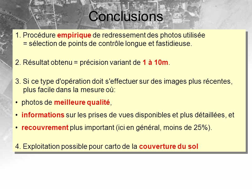 Conclusions 1. Procédure empirique de redressement des photos utilisée = sélection de points de contrôle longue et fastidieuse.