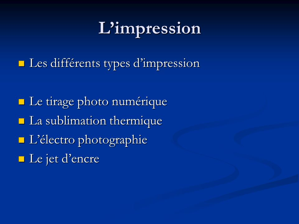 L'impression Les différents types d'impression