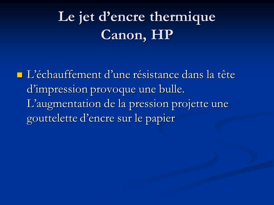 Le jet d'encre thermique Canon, HP