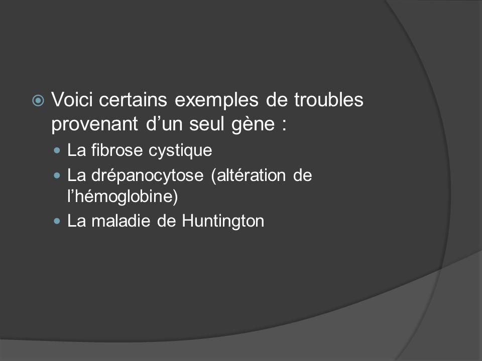 Voici certains exemples de troubles provenant d'un seul gène :