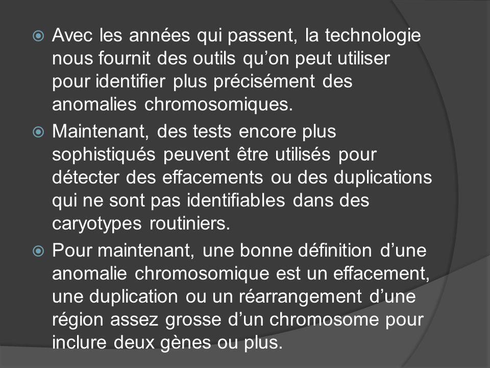 Avec les années qui passent, la technologie nous fournit des outils qu'on peut utiliser pour identifier plus précisément des anomalies chromosomiques.