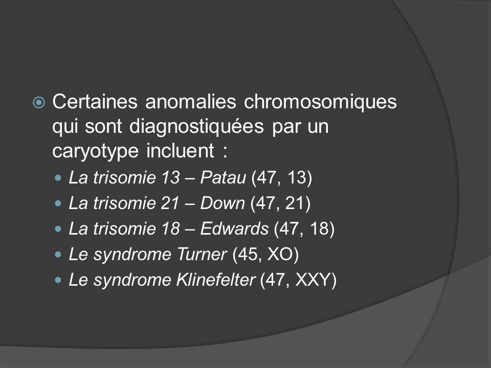 Certaines anomalies chromosomiques qui sont diagnostiquées par un caryotype incluent :
