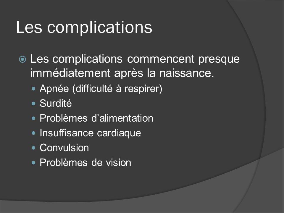 Les complications Les complications commencent presque immédiatement après la naissance. Apnée (difficulté à respirer)