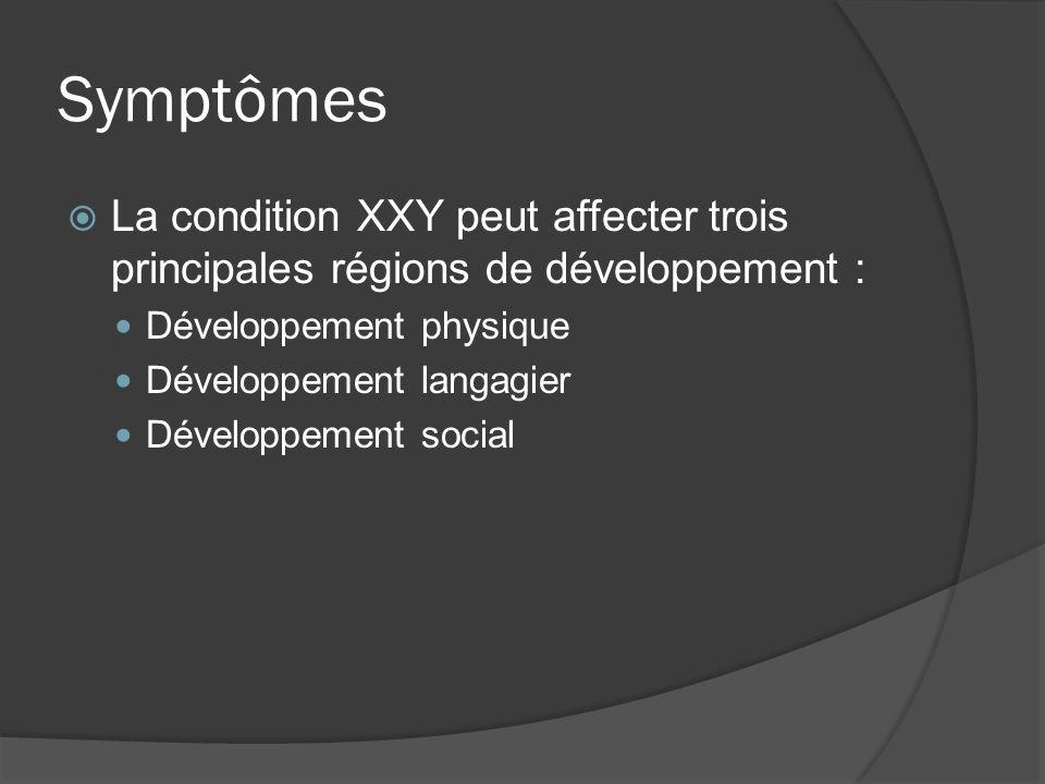 Symptômes La condition XXY peut affecter trois principales régions de développement : Développement physique.