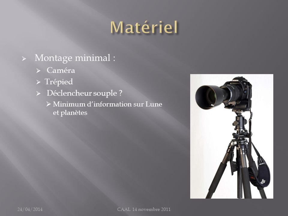 Matériel Montage minimal : Caméra Trépied Déclencheur souple