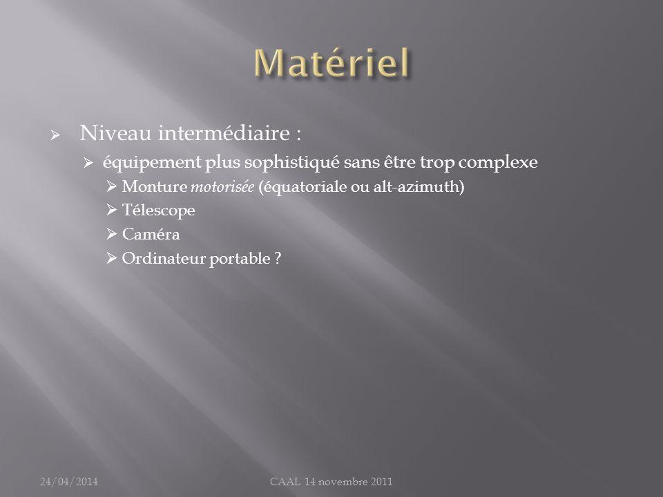 Matériel Niveau intermédiaire :