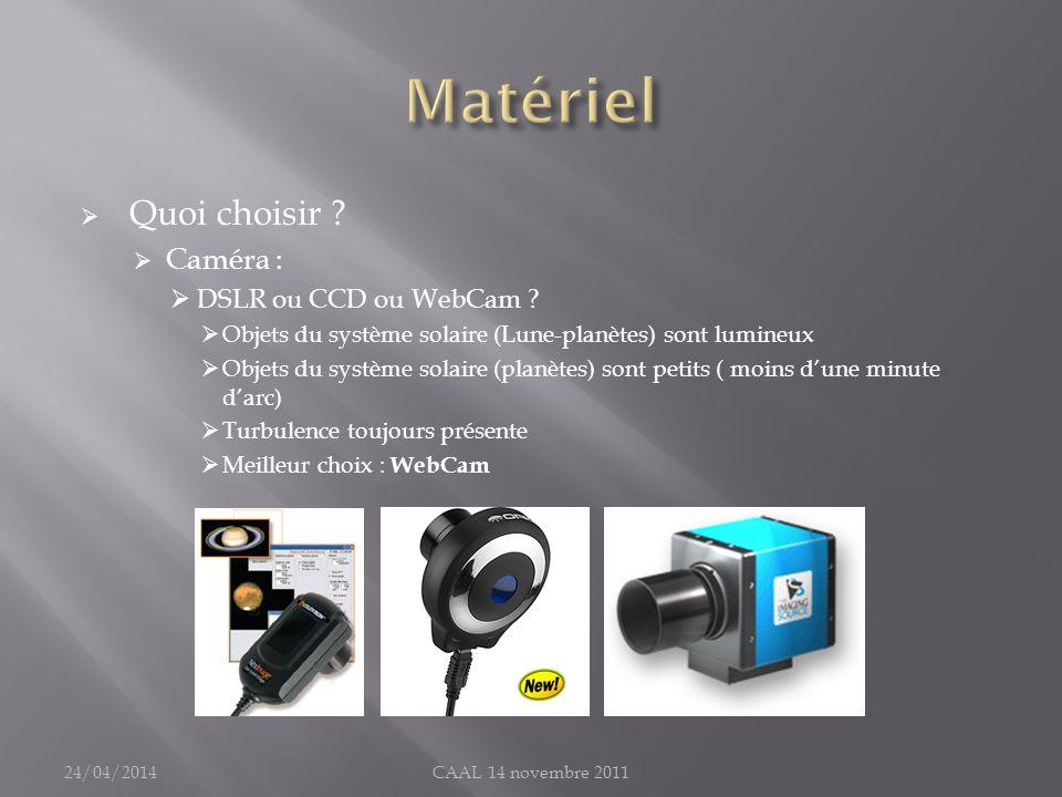 Matériel Quoi choisir Caméra : DSLR ou CCD ou WebCam