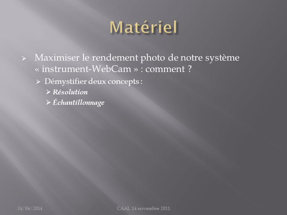 Matériel Maximiser le rendement photo de notre système « instrument-WebCam » : comment Démystifier deux concepts :