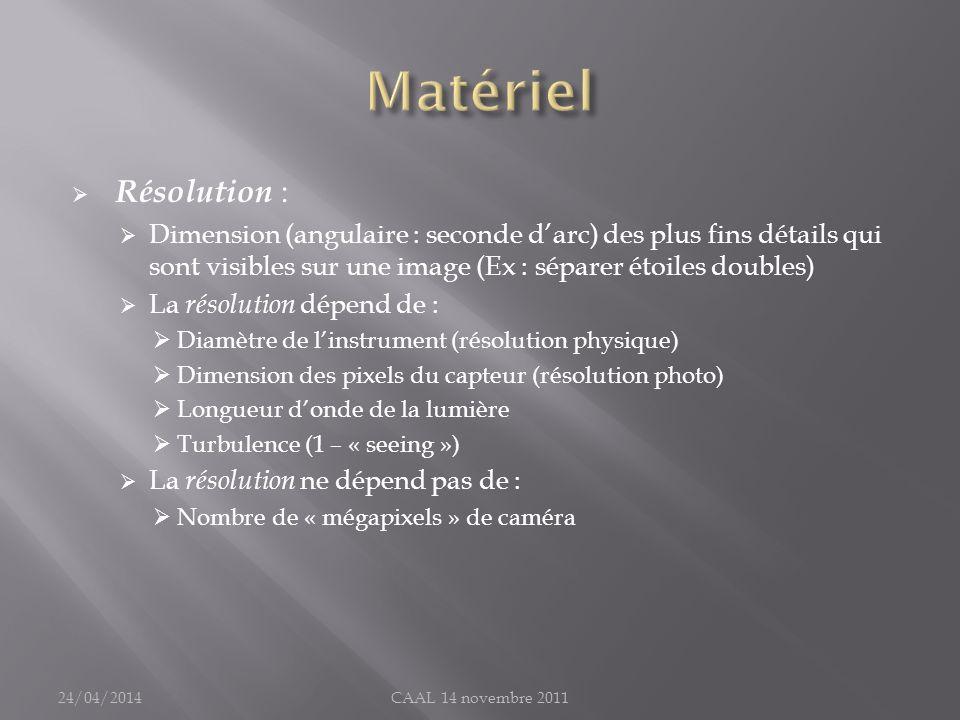 Matériel Résolution : Dimension (angulaire : seconde d'arc) des plus fins détails qui sont visibles sur une image (Ex : séparer étoiles doubles)