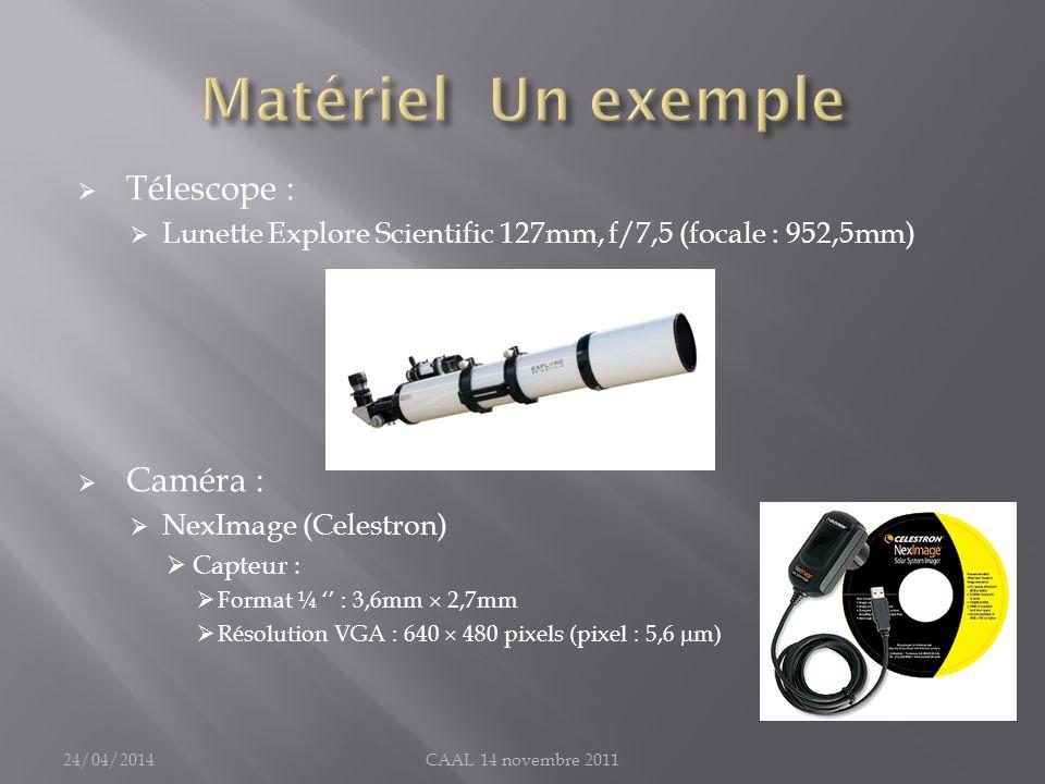 Matériel Un exemple Télescope : Caméra :