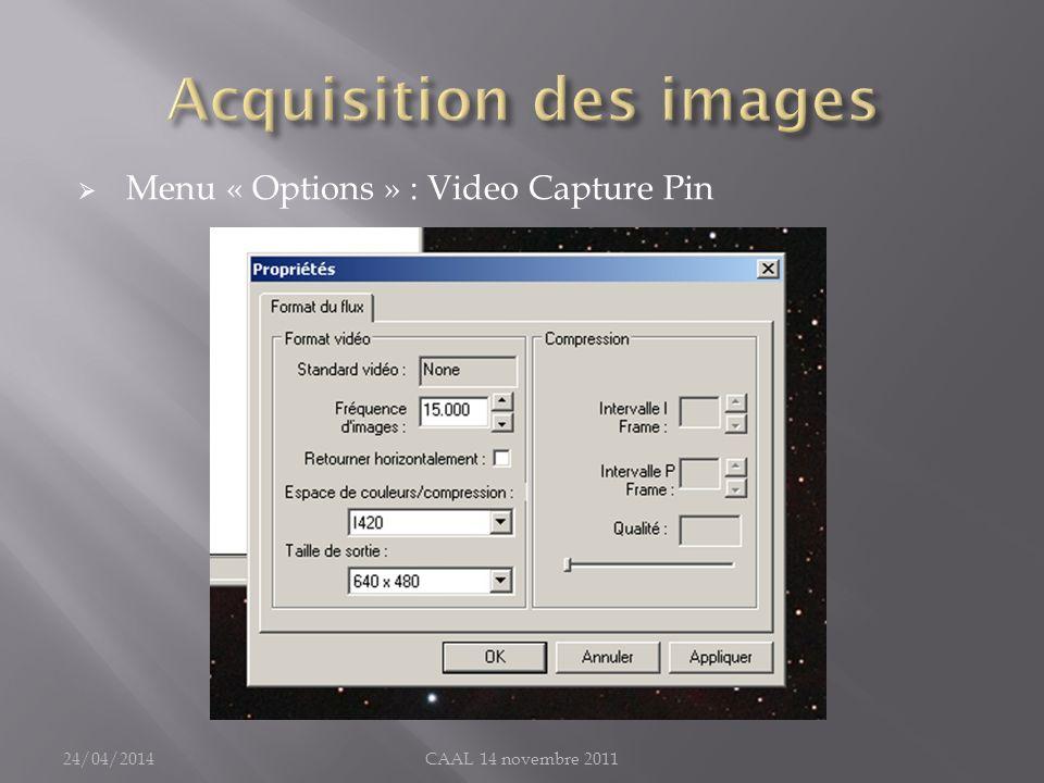 Acquisition des images