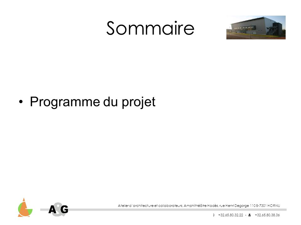 Sommaire Programme du projet