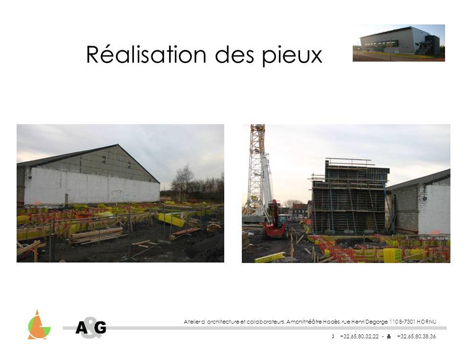 Réalisation des pieux Atelier d'architecture et collaborateurs, Amphithéâtre Hadès, rue Henri Degorge 110 B-7301 HORNU.
