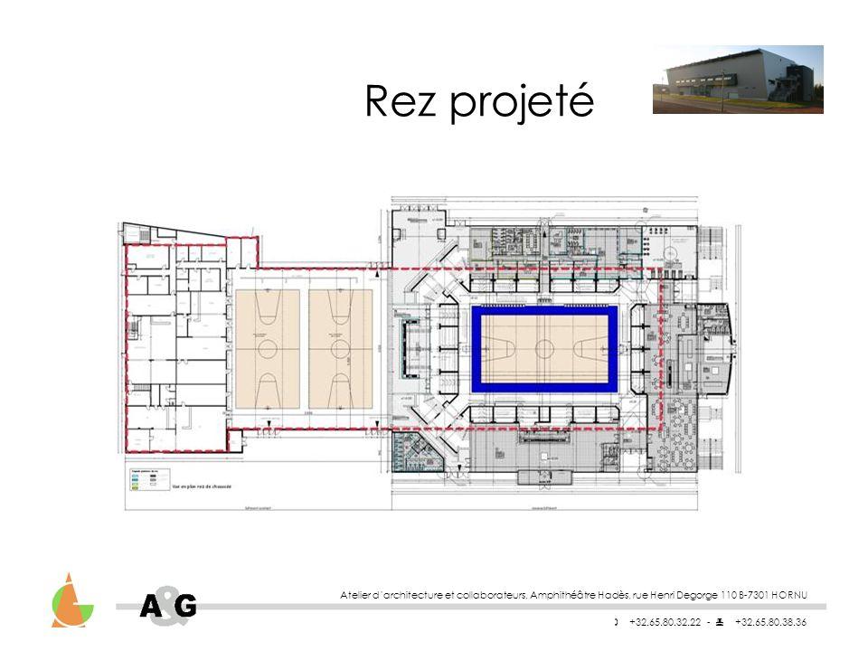 Rez projeté Atelier d'architecture et collaborateurs, Amphithéâtre Hadès, rue Henri Degorge 110 B-7301 HORNU.