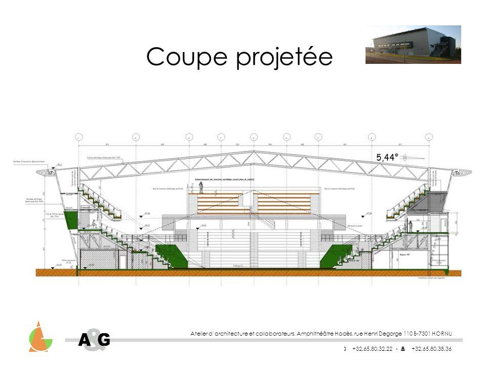 Coupe projetée Atelier d'architecture et collaborateurs, Amphithéâtre Hadès, rue Henri Degorge 110 B-7301 HORNU.