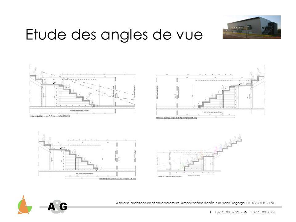 Etude des angles de vue Atelier d'architecture et collaborateurs, Amphithéâtre Hadès, rue Henri Degorge 110 B-7301 HORNU.