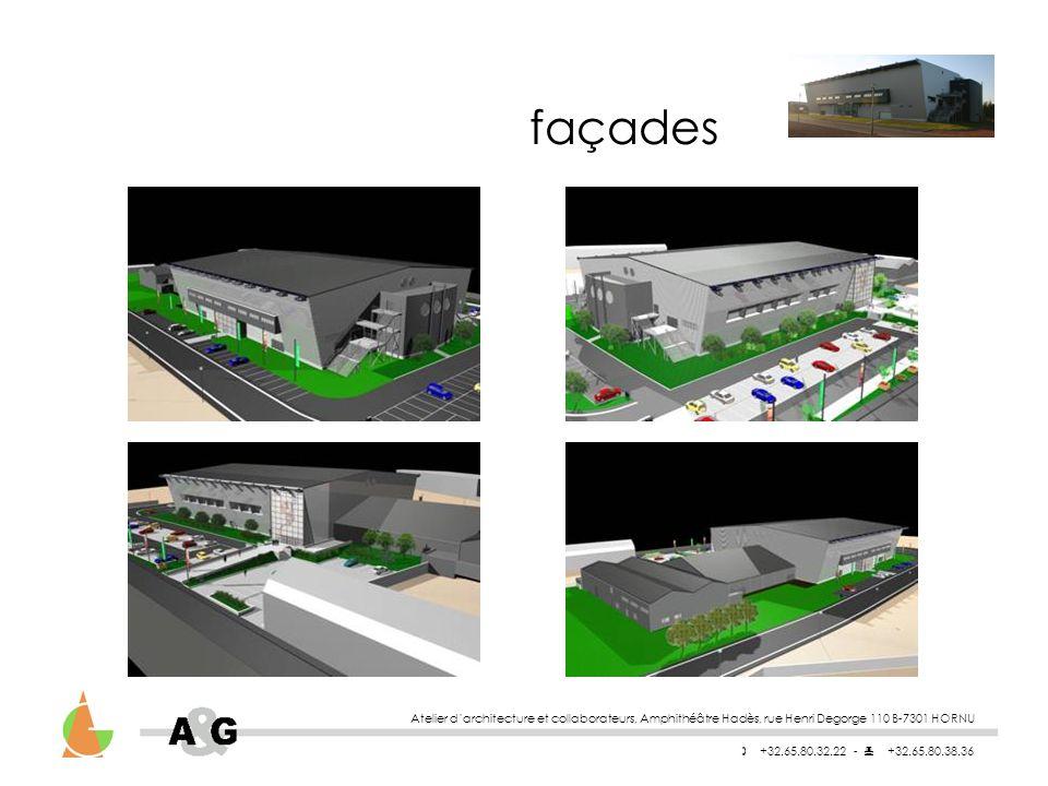 façades Atelier d'architecture et collaborateurs, Amphithéâtre Hadès, rue Henri Degorge 110 B-7301 HORNU.